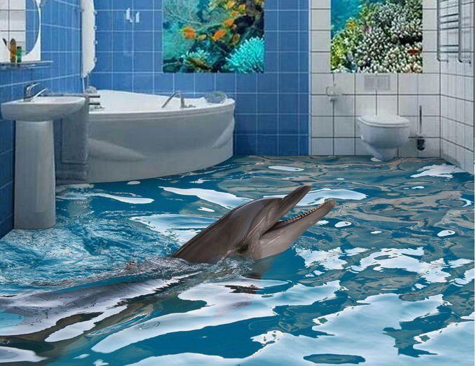 3D delfino acquario Pavimento Foto Wallpaper Murales Muro Stampa Stampa Stampa Decalcomania 507326