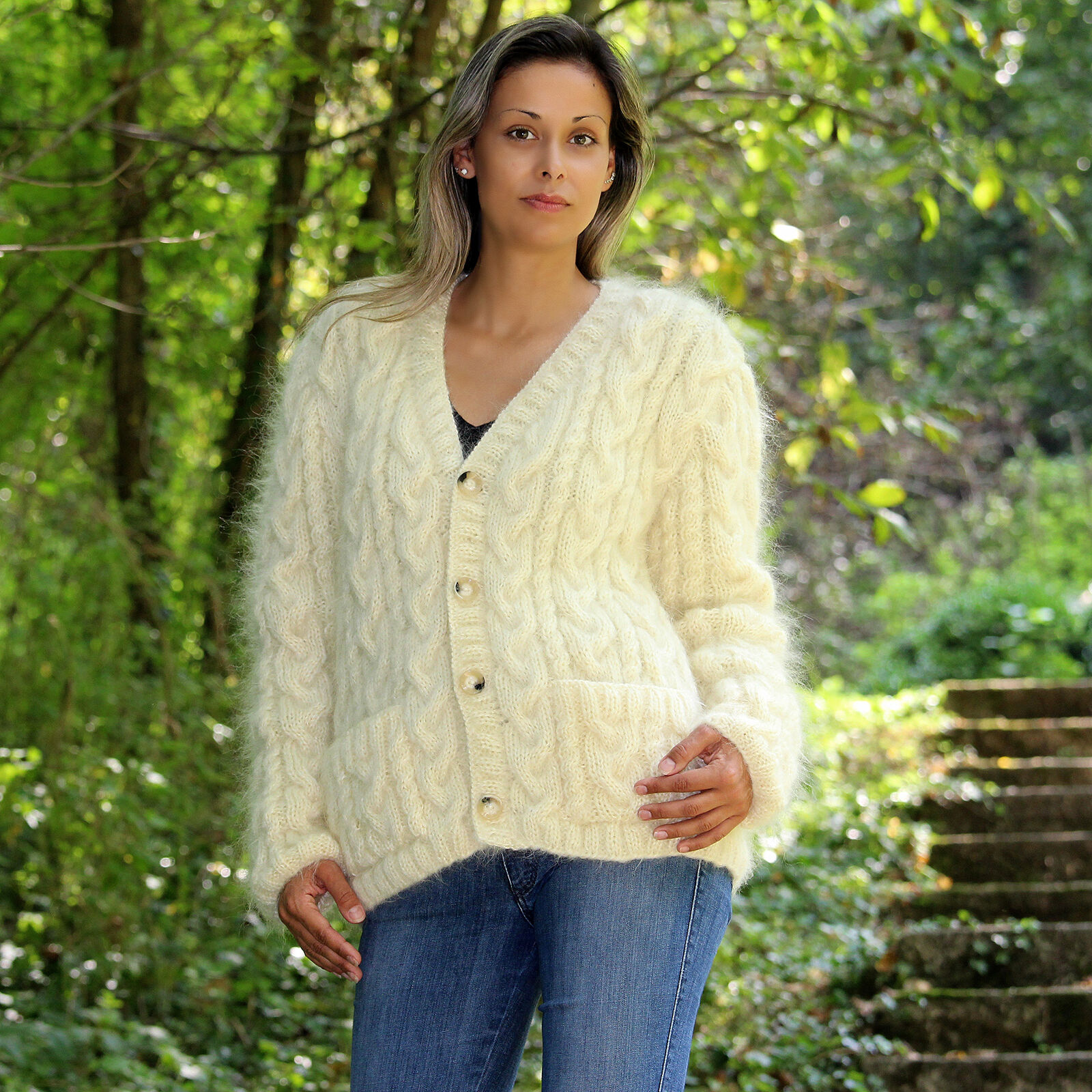 Sexy Weiß Hand Knitted Mohair Sweater Cardigan Pullover EXTRAVAGANTZA S M L XL