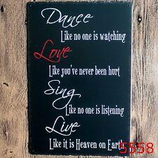 Metal Tin Sign dance love sing live Bar Pub Retro Poster Cafe ART