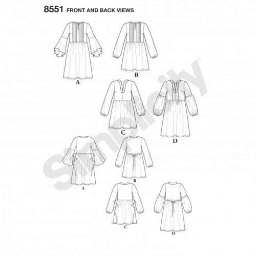 fp Gratis Reino Unido P/&p Simplicity Sewing Pattern 8551 simplicidad - 8551-M