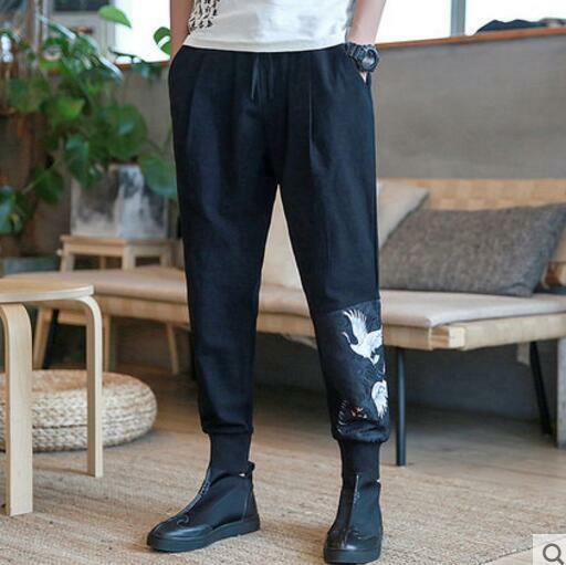 Mens Cotton Linen Loose Printing Red-crowned Crane Ninth Pants Hot Harem Pants