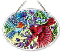 Cardinal Bluebird Sun Catcher Amia Beveled Glass 7x5 Oval Birds Purple Flowers