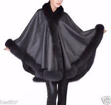 Dark Grey Cashmere Cape Wrap Shawl with Fox Fur Trim New