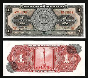 PREFIX N MEXICO 1 PESO 18-3-1959 UNC P.59c SERIE HT