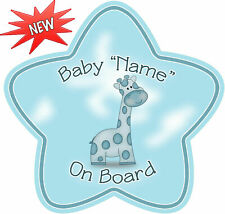 Personalised Baby On Board Car Sign Blue Son Bright!