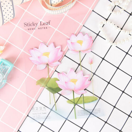 romantic lotus flowers memo pad sticky notes school supply bookmark label  X