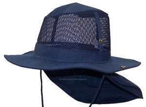 Summer Wide Brim Mesh Safari Outback Hat W Neck Flap  982 Navy XL ... b184a931eadd