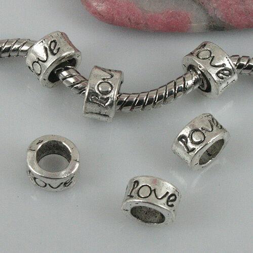 36pcs Tibetan silver color Love loose beads fit bracelet EF0463