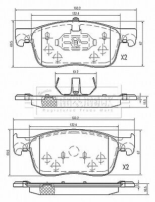 FRONT AXLE BRAKE PADS for PEUGEOT EXPERT 1.6 BlueHDi 115 2016-/>on