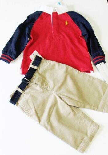 NWT Ralph Lauren Baby Boys Rugby Shirt /& Pants Set French Navy Multi Sz 6M