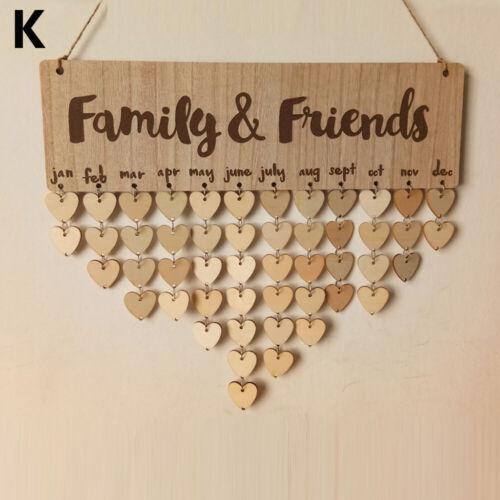 Special Dates Planner Wooden Calendar Family Friends Birthday Reminder Board