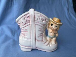 Vintage ~ Cowboy Boot ~  COWGIRL Baby Planter ~ RELPO #6944 Japan Vase