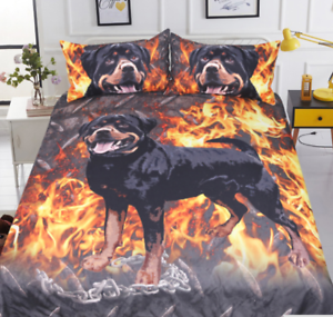 redtweiler Bedding Set 3D Printed Duvet Cover With Pillowcase Dog Bedclothes