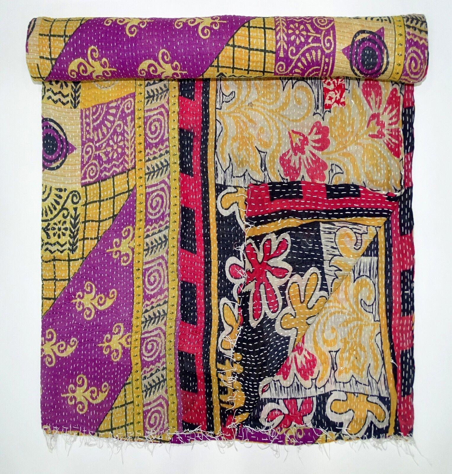 Vintage Kantha Quilt Floral Bedsheet Handmade Reversible Old Gudari Twin Throw