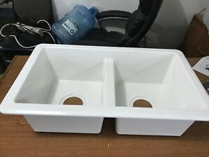 Rv Kitchen Sink 27 X16 X7 Double Basin White Kitchen Sink New Plastic 1f Ebay