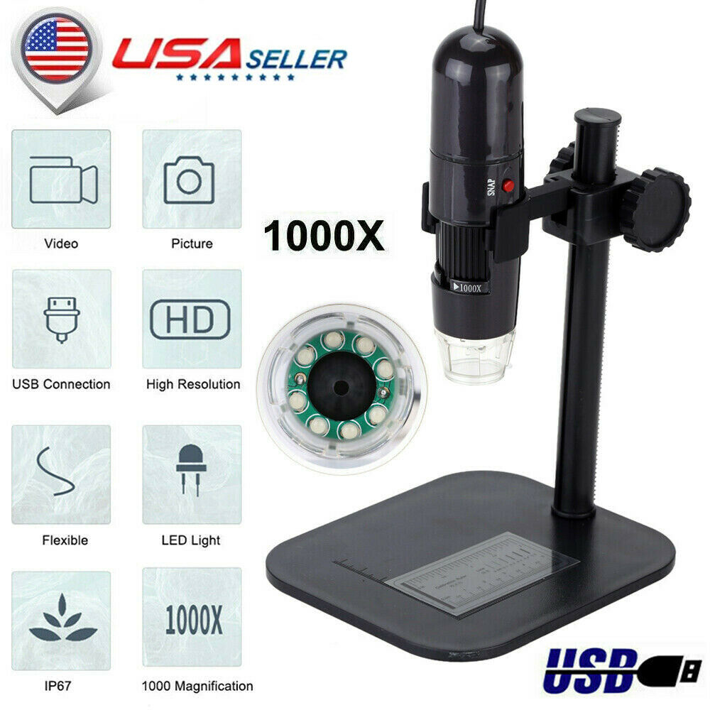 Koolertron USB Digital Microscope 40X-800X 2MP 8 LED Endoscope Camera Magnifier