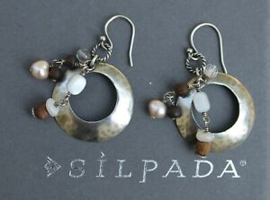 SILPADA-Hammered-Sterling-Silver-Rose-Quartz-Pearl-Shell-Dangle-Earrings-W1429