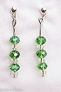 Green Crystal Silver Plated Drop Earrings - Nottingham, Nottinghamshire, United Kingdom - Green Crystal Silver Plated Drop Earrings - Nottingham, Nottinghamshire, United Kingdom