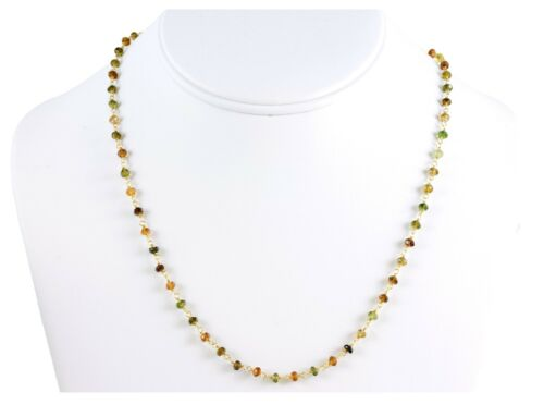 Tourmaline Necklace Amber Green Brown Faceted chain link 14k gold Filled 18 19