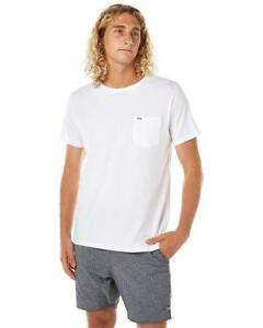 Rip-Curl-PLAIN-POCKET-TEE-Men-039-s-Crew-Neck-T-Shirts-New-CTELL2-White