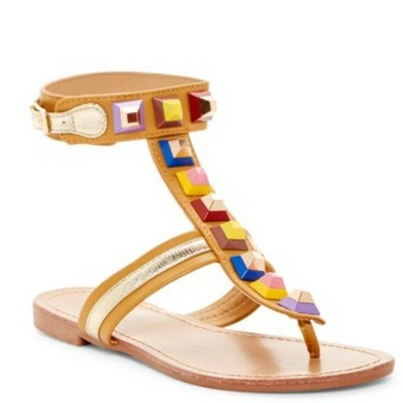 Catherine Malandrino  Tan Studded  Pista Gladiator Sandals Size 7.5 New