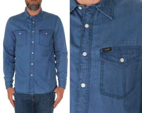 XXL S L M City Blue Lee Herren Jeanshemd Clean Western Regular Fit Blau XL