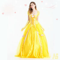 Deluxe Beast Belle Princess Beauty Party Fancy Dress Costume Halloween Cosplay