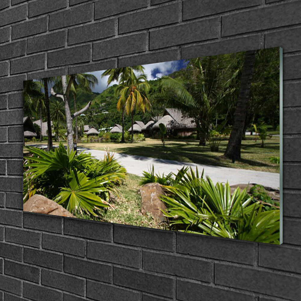 Tableau sur verre Image Impression 100x50 Nature Feuilles Palmiers