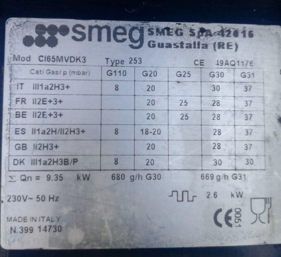 Gaskomfur, Smeg, b: 60 d: 60
