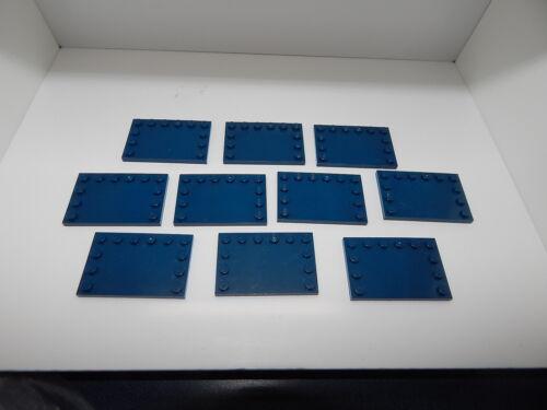 Lego Lot Of 10 Dark Blue Tile Modified 4 x 6 Studs Edges