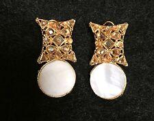 Faux Polki Gold Semi Precious White Opal Earrings Indian Pakistani Jwellery New