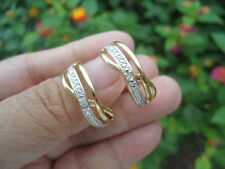 Sterling Silver VICTORIA TOWNSEND Diamond ACCENT Hoop Earrings HUGE 5G
