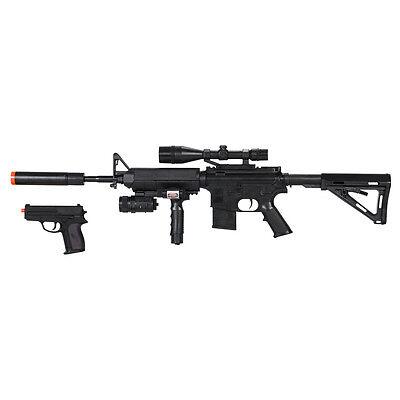 Uk Arms P1158d Spring Rifle 300 Fps Airsoft Free Pistol Laser Foregrip Toy Gun Ebay