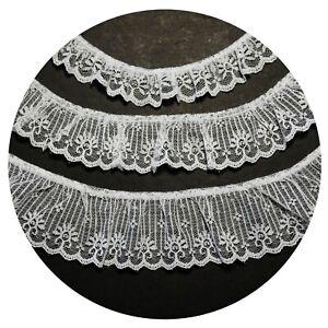 "2.25/"" White Raschel Lace Trim Ruffle Scalloped Edge Sewing Notions Wholesale Lot"