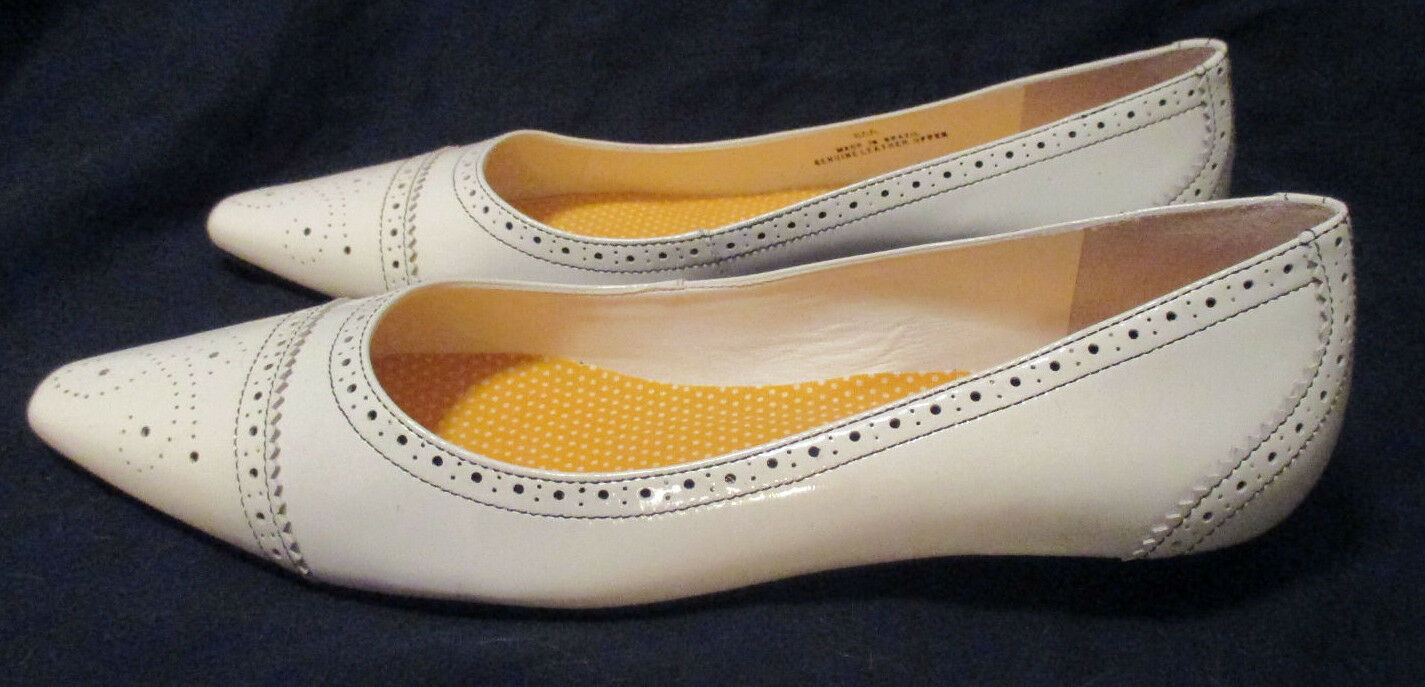 NEW  TALBOTS Weiß Patent Patent Weiß Leder Ballet Flats, S.8 N efe5f2