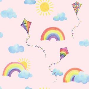 Over-The-Arc-En-Ciel-Volant-Cerfs-Volants-Papier-Peint-91021-Enfants-a-Coucher