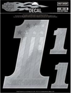 harley davidson aufkleber decal 1 silber reflektierend. Black Bedroom Furniture Sets. Home Design Ideas