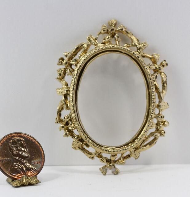 Dollhouse Miniature 1:12 Scale Set of 2 Gold Oval Framed Vintage Look Floral ...