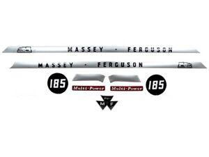 COMPLETE BONNET DECAL SET FITS MASSEY FERGUSON 185 TRACTORS. HIGH QUALITY
