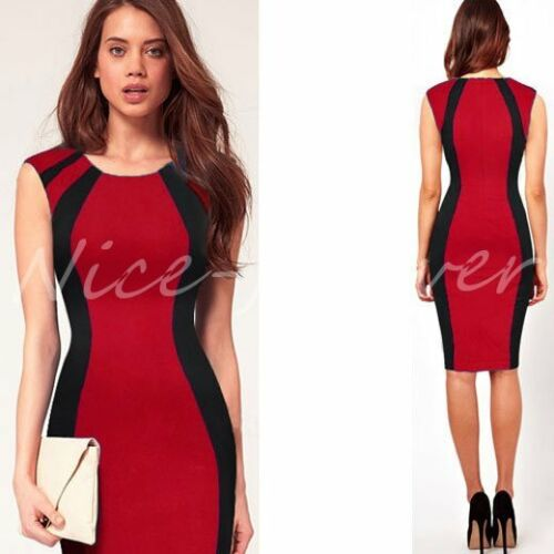 Women Vintage Colorblock Work Party Club Casual Pencil Midi Dress Ng254