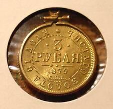 1879 RARE 3 R GOLD COIN 14k BEZEL IMPERIAL RUSSIA RUSSIAN BEAUTY ALEXANDER 2ND !