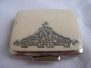 ANTIQUE-FRENCH-COIN-PURSE-WITH-SOLID-SILVER-ORNEMENT-EARLY-20th-CENTURY