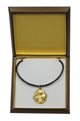 Newfoundland in box Art Dog USA gold plated necklace with dog