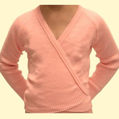 Girls BALLET PINK Crossover, AGE 2-10, Dance Wrap Knitted Cardigan, Long sleeves
