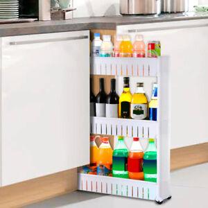3 Fächer Küchenregal Nischenregal Badrollwagen Flaschenregal Ordnungswagen weiß