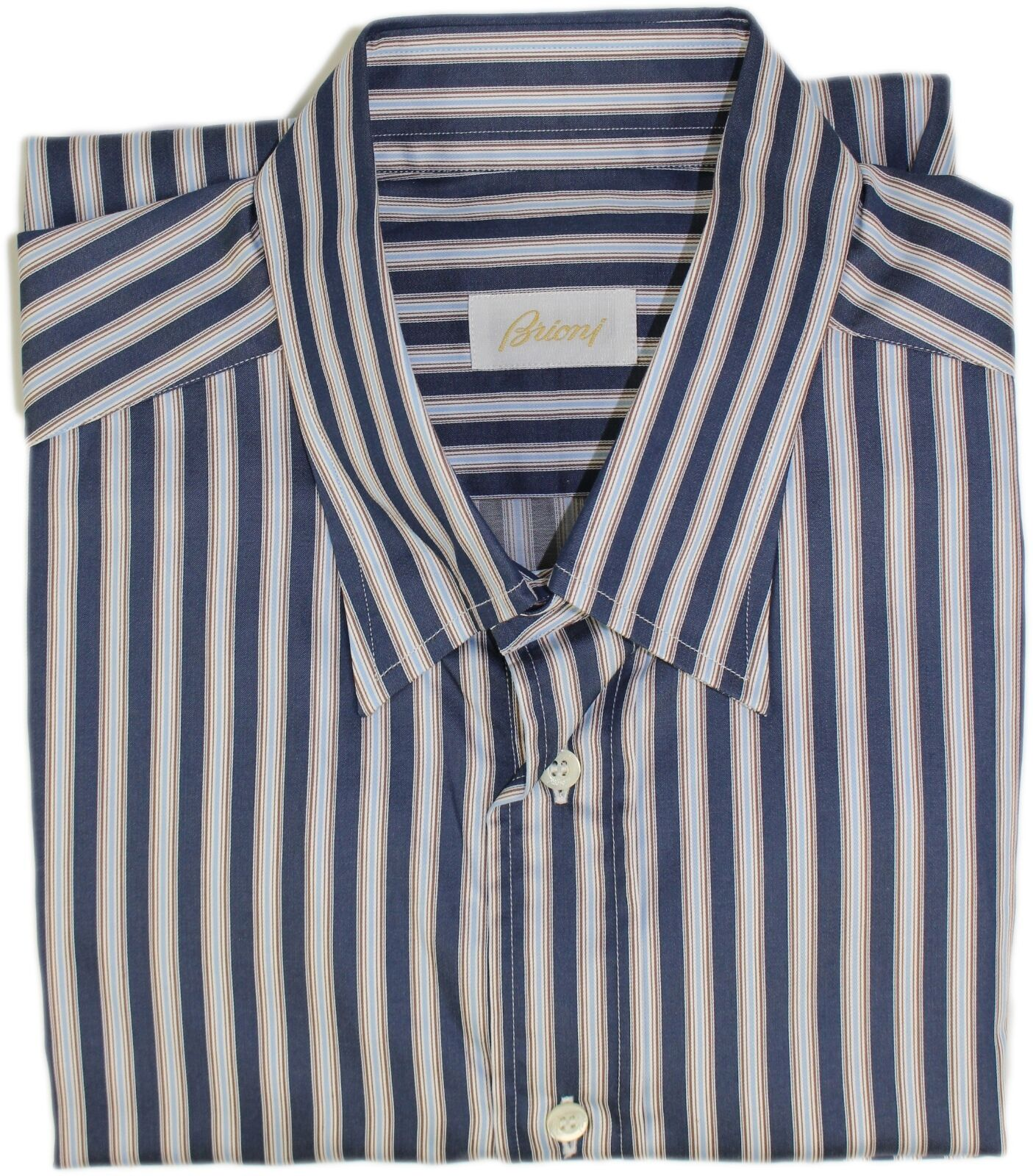 BRIONI Herren NAVY STRIPE PATTERN SHIRT-XL-MADE IN ITALY