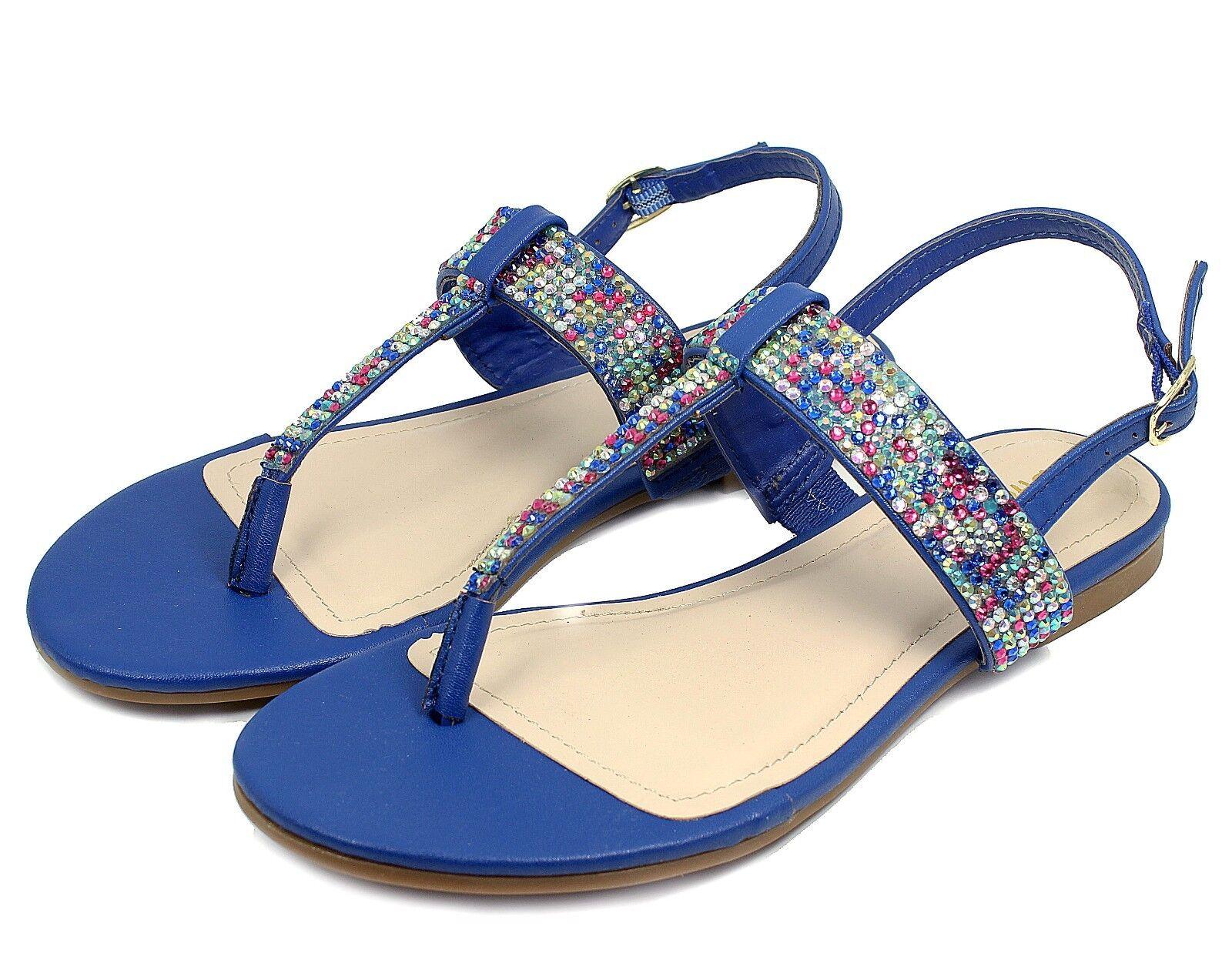 JOSALYN-22 Fushion Women Bead Flat T-Strap Cute Sandals Party Women Fushion Shoes Blue 8.5 bc240c