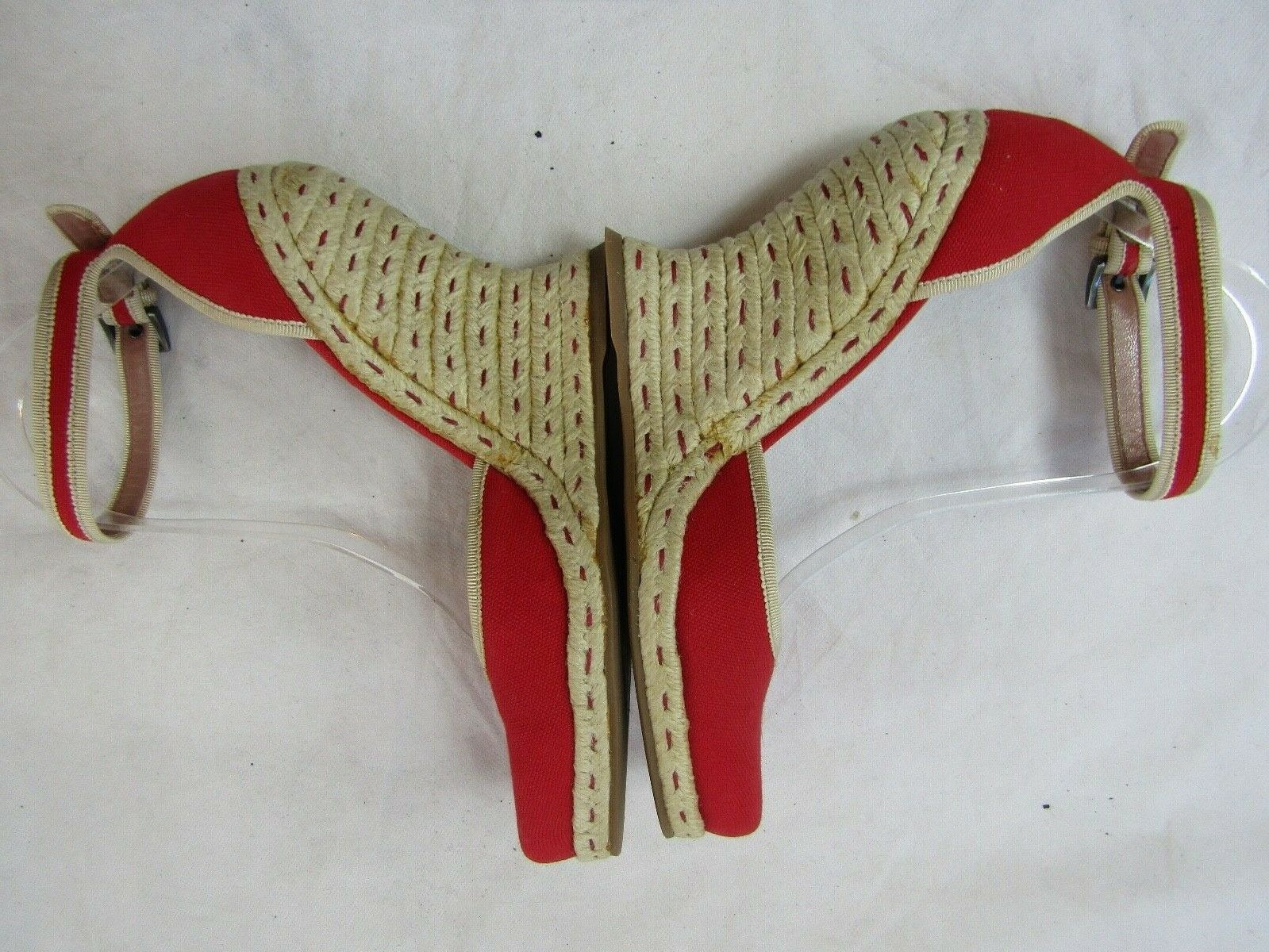 Azzedine Alaia Red Espadrille Wedge Size 37.5 Ret… - image 10