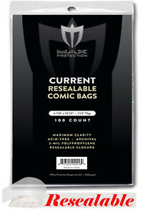 Lot-of-200-Max-Pro-RESEALABLE-Current-Comic-Book-Archival-Poly-Bags-6-7-8x10-5