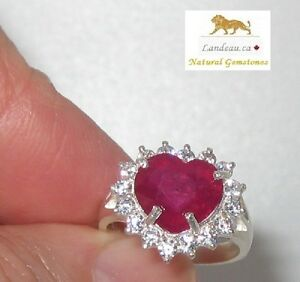 3-40-ct-Ruby-Heart-amp-CZ-Silver-Ring